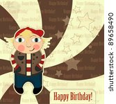 greeting card with boy in... | Shutterstock .eps vector #89658490