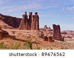 The Three Gossips. Arches National Park, Utah, USA - stock photo