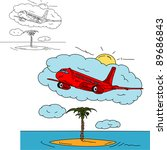vector   airplane over island   ... | Shutterstock .eps vector #89686843