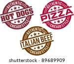chicago style hot dog and food... | Shutterstock .eps vector #89689909