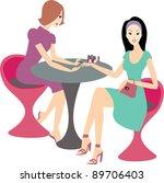 Vector Illustration Women In A Salon Getting Manicure