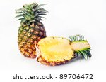pineapple with slices on white... | Shutterstock . vector #89706472