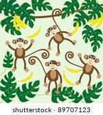 four cute cartoon monkeys   Shutterstock . vector #89707123
