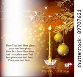 christmas background with candle | Shutterstock .eps vector #89707621