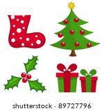 Set of Christmas elements for design. Vector illustration - stock vector