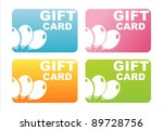 set of 4 colorful gift cards | Shutterstock .eps vector #89728756