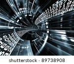 Interplay of numbers and dynamic abstract lines on the subject of digital technology, data streaming and Internet - stock photo