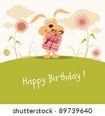Happy Birthday Card  Cute Bunny