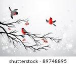 Branch And Birds Bullfinch Wit...