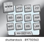 Brushed metallic stainless steel looking 3D keys with web / internet concept text - stock vector