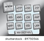 Brushed metallic stainless steel looking 3D keys with web / internet concept text - stock photo