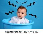 baby on a blue bucket  studio...   Shutterstock . vector #89774146