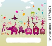 colorful circus caravan with... | Shutterstock . vector #89776876