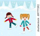 two little girls ice skating | Shutterstock .eps vector #89777392