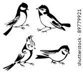 birds silhouette on white background, vector illustration - stock vector
