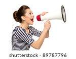 attractive woman with megaphone | Shutterstock . vector #89787796