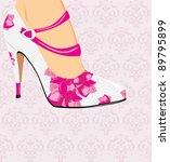 elegant stylish female shoes on ... | Shutterstock .eps vector #89795899