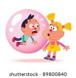 bubble gum kids | Shutterstock .eps vector #89800840