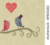 beautiful birds in love... | Shutterstock .eps vector #89803282