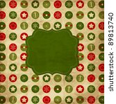 Vintage Christmas card with green frame - stock vector