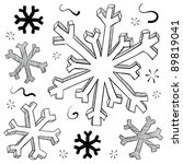 Doodle style winter snowflake vector illustration - stock vector