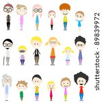 collection of big happy family... | Shutterstock .eps vector #89839972