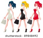 shopping  girls. cartoon and... | Shutterstock .eps vector #89848492