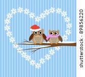 winter  vector card.owls couple ... | Shutterstock .eps vector #89856220