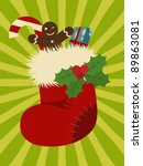 christmas stocking.retro style. | Shutterstock .eps vector #89863081