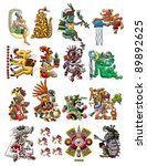 set of mayan   aztec deities... | Shutterstock . vector #89892625