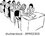sketch of the girls in the... | Shutterstock . vector #89902303