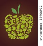 apple with fruits and... | Shutterstock .eps vector #89906932