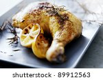closeup of roast chicken and... | Shutterstock . vector #89912563