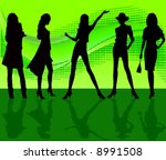 vector fashion women silhouettes | Shutterstock .eps vector #8991508