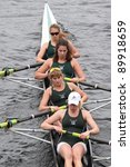 Small photo of BOSTON - OCTOBER 23: Dartmouth College womens Fours races in the Head of Charles Regatta. Vesper Boat Club won with a time of 18:21 on October 23, 2011 in Boston, MA.