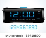 blue digital vector clock. | Shutterstock .eps vector #89918800