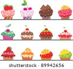 cupcakes. vector  color full ... | Shutterstock .eps vector #89942656