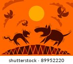 dog and cat  flat style  vector ... | Shutterstock .eps vector #89952220