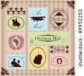 vintage postage stamps... | Shutterstock .eps vector #89952253