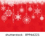 christmas balls on red... | Shutterstock .eps vector #89966221