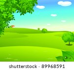 sunrise over a green landscape | Shutterstock .eps vector #89968591