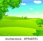 sunrise over a green landscape | Shutterstock .eps vector #89968591