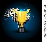 golden trophy and flag  vector | Shutterstock .eps vector #89980423