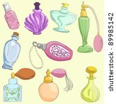 Set Of Doodle Retro Perfume...