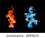 Two Elements  Burning Flame An...