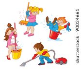 children  busy cleaning up... | Shutterstock .eps vector #90024661