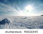 Ski Kiting On A Frozen Lake