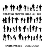 skaters on the ice rink  winter ... | Shutterstock .eps vector #90032050