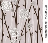 branches and white flowers - seamless pattern