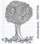 notebook doodle sketch tree... | Shutterstock .eps vector #90057556